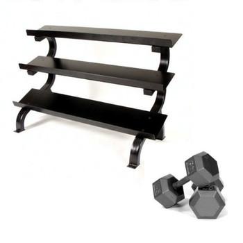 Troy (5-75 lb) Hex Dumbbells & Rack