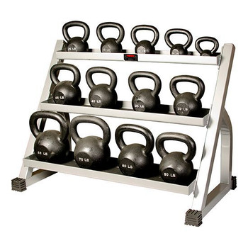 York (5-80 lb) Cast Iron Kettlebells w/ Rack