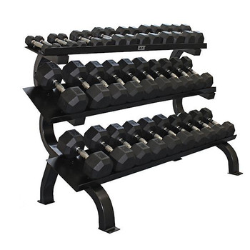 VTX (5-75 lb) Rubber Coated Dumbbells w/ Rack