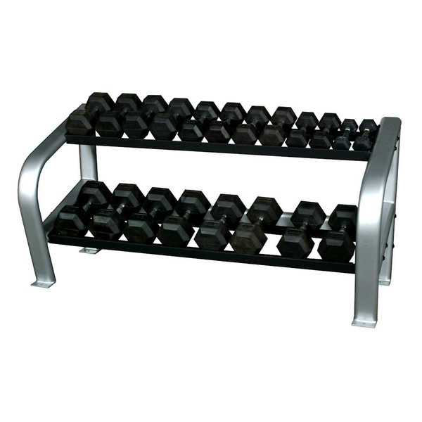Inflight (5-50 lb) Rubber Hex Dumbbells w/ Rack