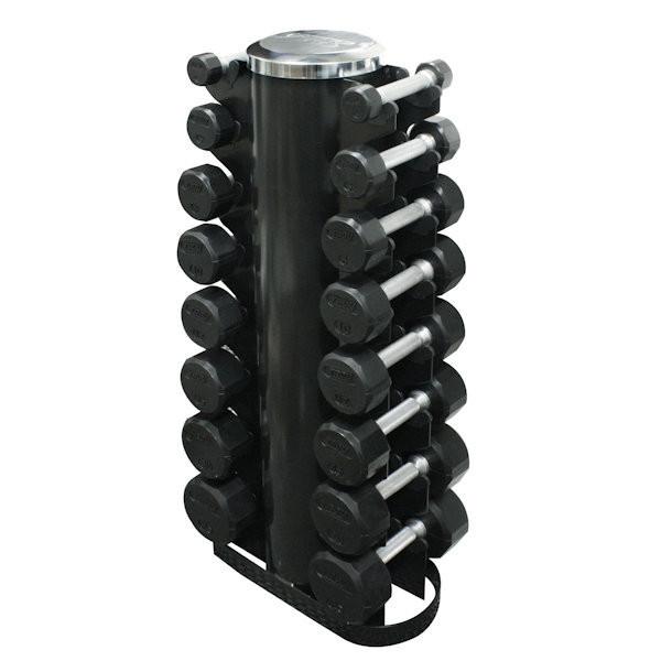 Troy (3-25 lb) TSD-R Rubber Dumbbells w/ Rack