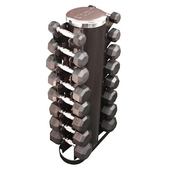 VTX (3-25 lb) 8-Sided Rubber Dumbbells & Rack