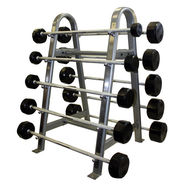 Troy 12-Sided Rubber Encased Gym Barbell Set with Rack