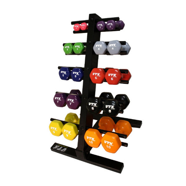 Troy VTX (1-10 lb) Vinyl Dumbbells w/ Rack