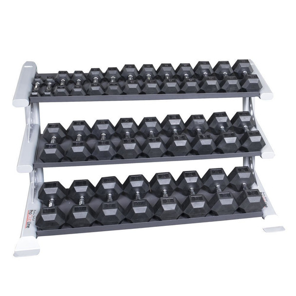 Body Solid 5-75 Rubber Hex Dumbbells w/ Rack