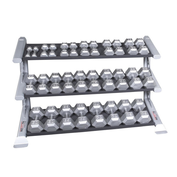 Body Solid Gym Dumbbell Weight Set and Rack - 5-75 lbs