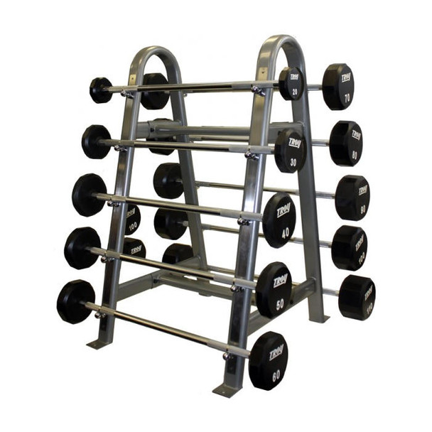 Troy Fixed Urethane Barbell Weights with Rack