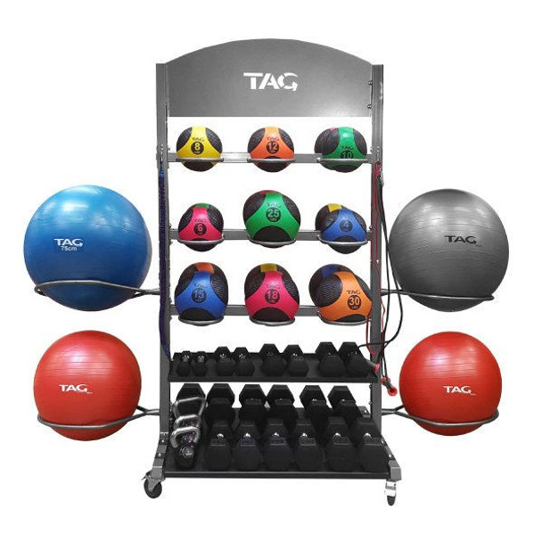 TAG Commercial Rolling Gym Equipment Storage Rack