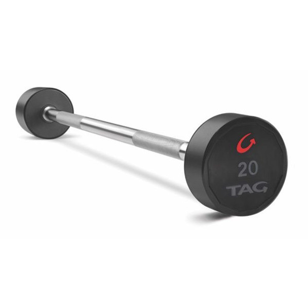 TAG Fitness Urethane Covered Fixed Barbell Weight with Straight Bar