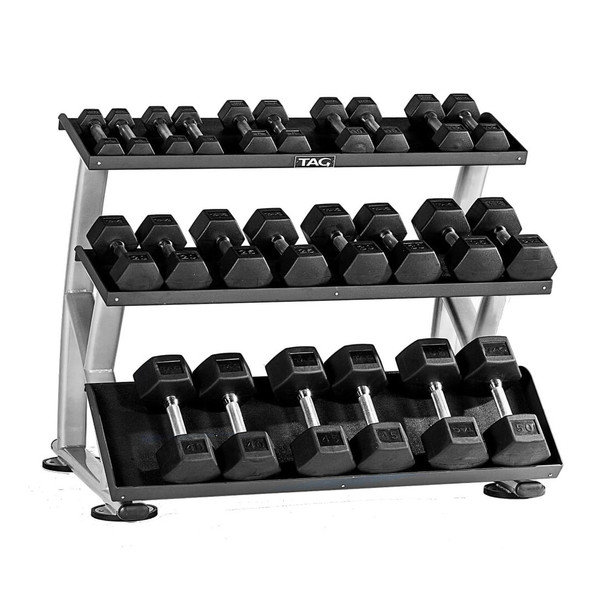 TAG 5-50 lb Rubber Hex Dumbbells and Rack