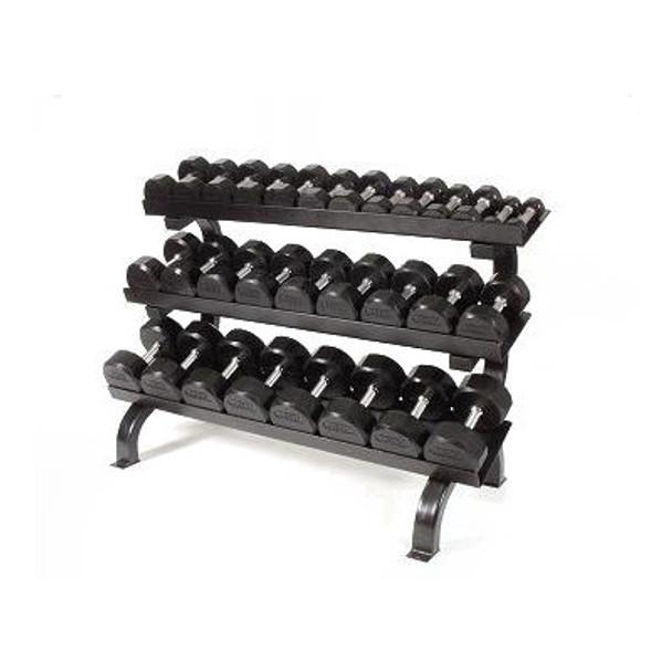 Troy (#TSD-R) 5-75 lb Rubber Dumbbells & Rack