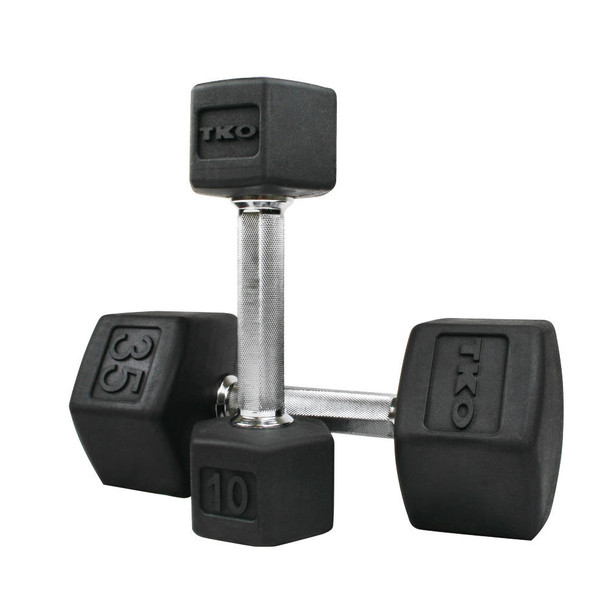 TKO Rubber Hex Dumbbells