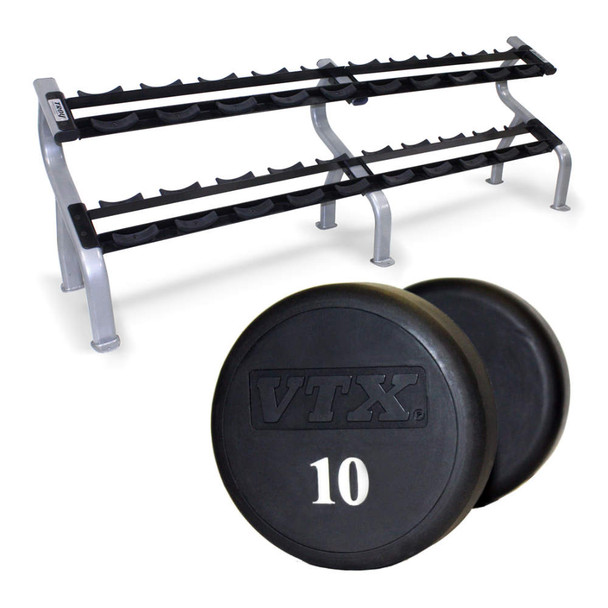 Troy VTX Urethane Coated Dumbbells w/ Rack