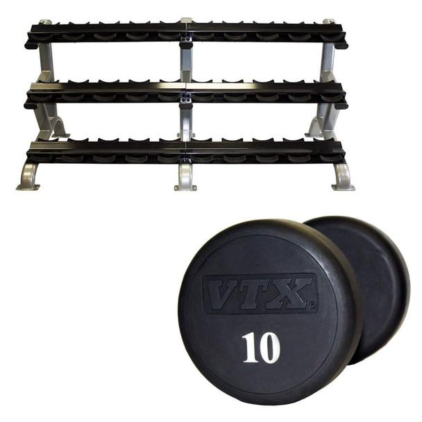 Troy VTX (5-75 lb) Urethane Dumbbells & Rack