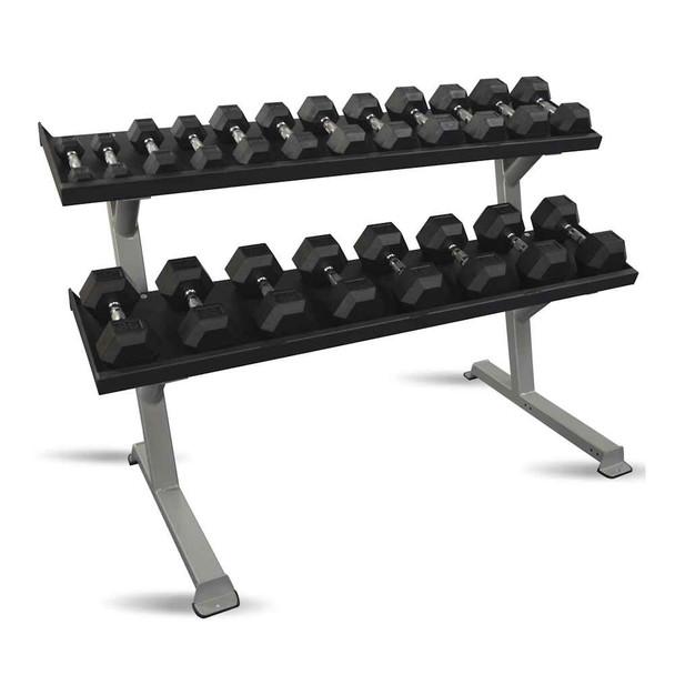 Inflight Fitness 5-50 lb Rubber Dumbbells & Rack