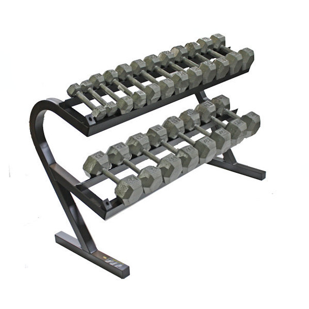 Troy (5-50 lb) Iron Hex Dumbbells w/ Rack