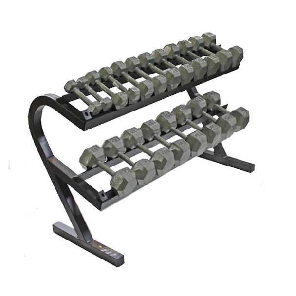 Troy (5-50 lb) Iron Hex Dumbbells w/ Rack