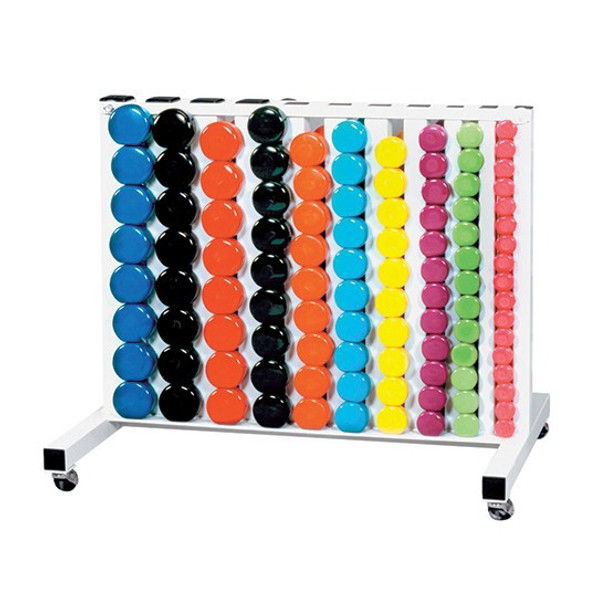 "York ""Fitbells"" Vinyl Dumbbell Set w/ Rack"