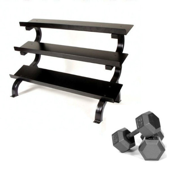 Troy (5-75 lb) Cast Iron Hex Dumbbells & Rack