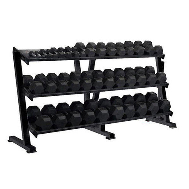 York Barbell Rubber Coated Hex Dumbbell Set and Rack