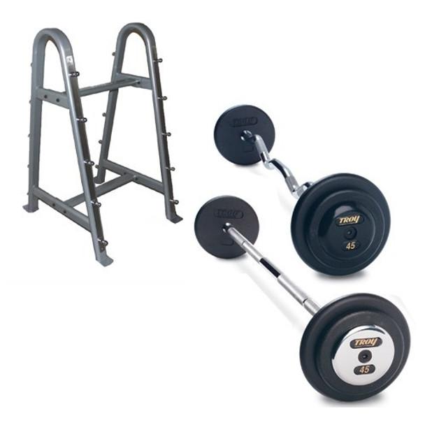 Troy Black Iron Fixed Barbell Set w/ Rack