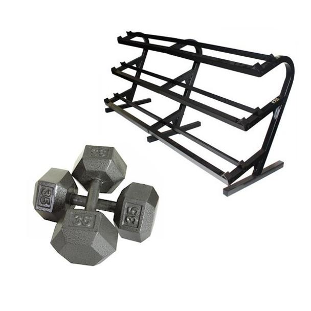 Troy (5-100 lb) Iron Hex Dumbbells w/ Rack