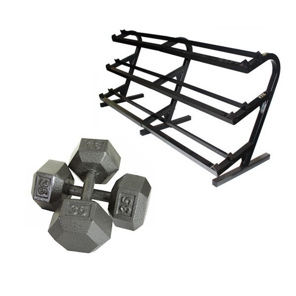 Troy (5-100 lb) Cast Iron Hex Dumbbells w/ Rack