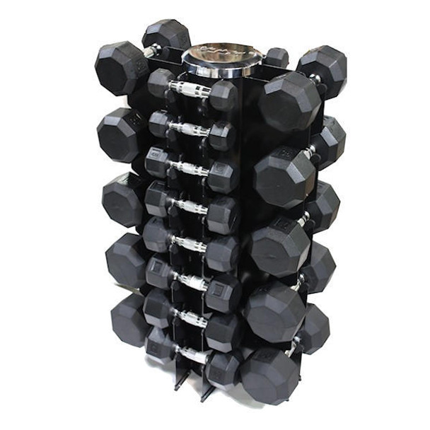 VTX (3-50 lb) Rubber Coated Dumbbells & Rack