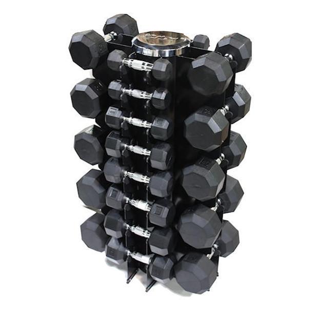 VTX (3-50 lb) Rubber Coated Dumbbells & Rack