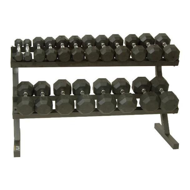 VTX (5-50 lb) 8-Sided Rubber Dumbbells & Rack