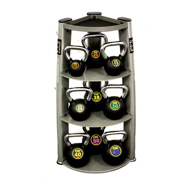 Troy VTX 10-50 lb Chrome Handle Rubber Kettlebells with Rack
