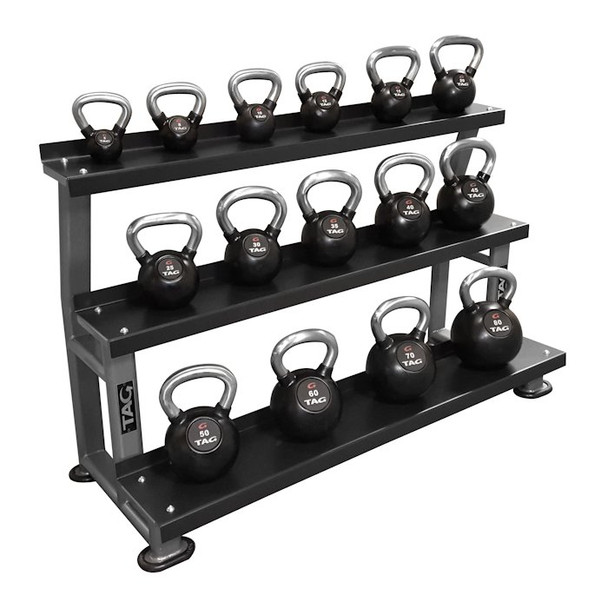 TAG (5-80 lb) Rubber Kettlebell Set w/ Rack