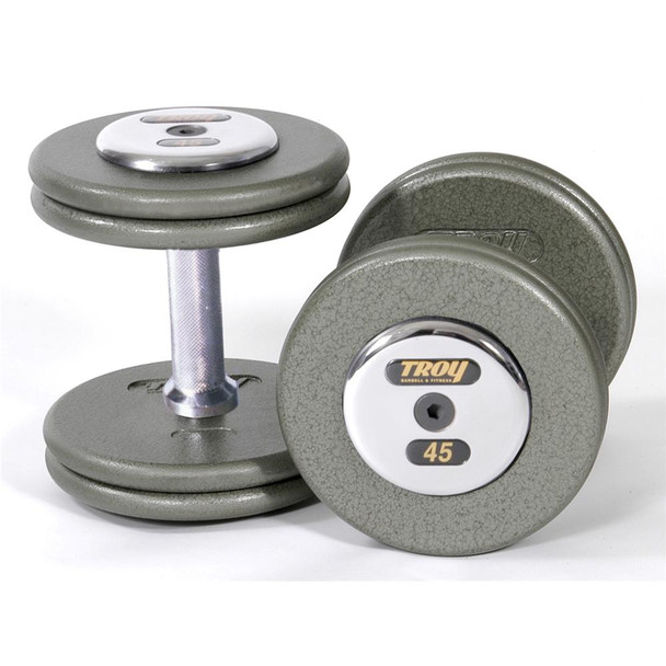 Troy Barbell HFD Pro Style Gym Dumbbell Weights with Chrome End Caps - HFD-C
