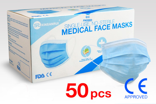 50 Pack Class 1 Medical Disposable Face Mask/FDA Approved, 3-Ply, 98% Filtration
