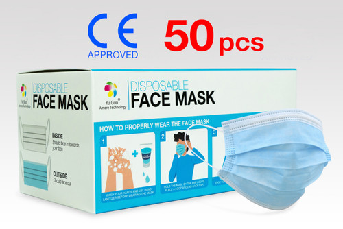50 Pack FDA Approved 3-Ply Non-Woven Disposable Face Mask with >90% Filtration