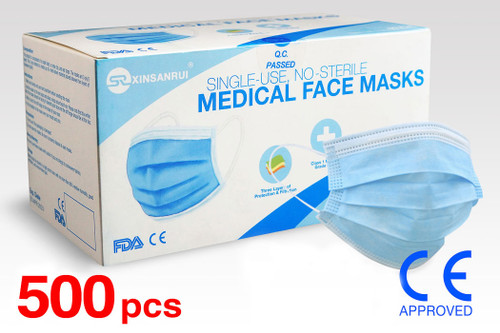 (500) Class 1 Medical Disposable Face Masks FDA Approved, 3-Ply, 98% Filtration