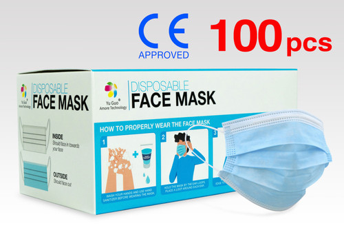 (100) FDA Approved 3-Ply Non-Woven Disposable Face Masks with >90% Filtration