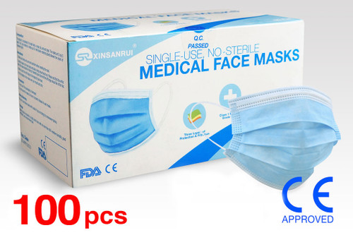 (100) Class 1 Medical Disposable Face Masks FDA Approved, 3-Ply, 98% Filtration