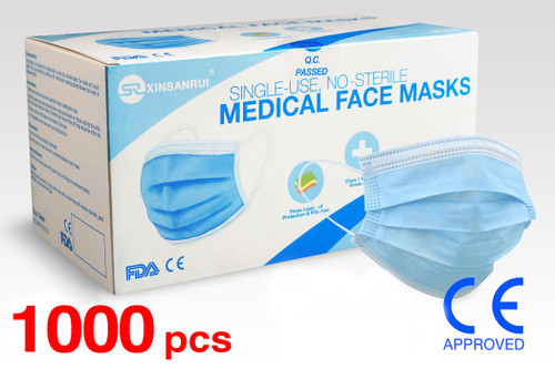 (1000) Class 1 Medical Disposable Face Masks FDA Approved, 3-Ply, 98% Filtration