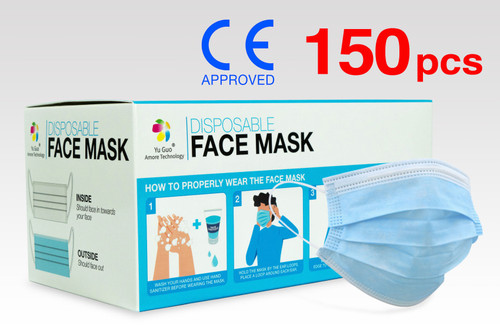 (150) FDA Approved 3-Ply Non-Woven Disposable Face Masks with >90% Filtration