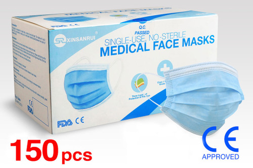 (150) Class 1 Medical Disposable Face Masks FDA Approved, 3-Ply, 98% Filtration