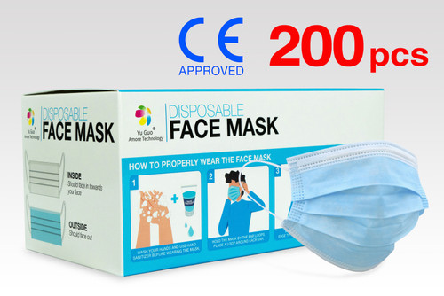 (200) FDA Approved 3-Ply Non-Woven Disposable Face Masks with >90% Filtration