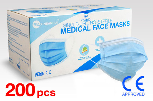(200) Class 1 Medical Disposable Face Masks FDA Approved, 3-Ply, 98% Filtration