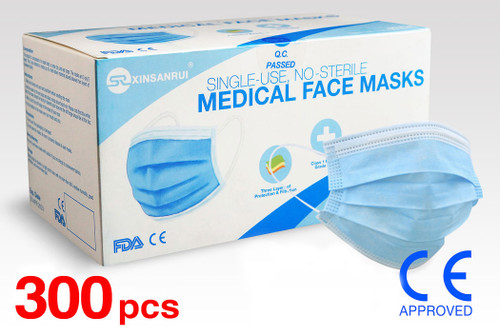 (300) Class 1 Medical Disposable Face Masks FDA Approved, 3-Ply, 98% Filtration
