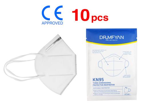 (10) KN95 Particulate Respirator Face Masks CE Approved FFP2, >95% Filtration