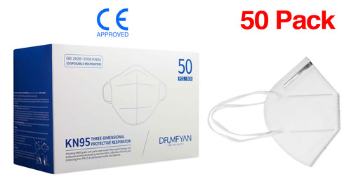 (50) KN95 Particulate Respirator Face Masks CE Approved FFP2, >95% Filtration