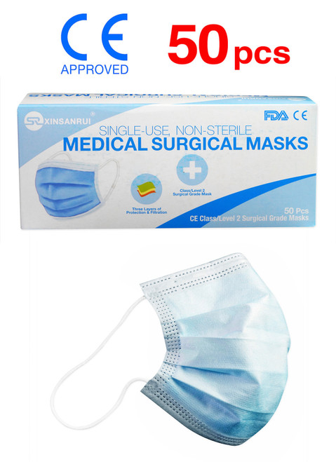 50 Pack Class 2 Surgical Disposable Face Mask/FDA Approved/3-Ply/98% Filtration