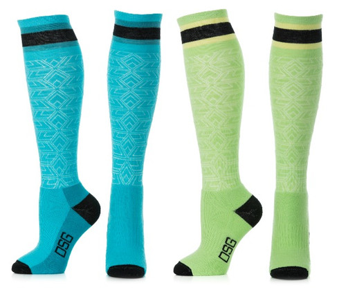 DSG Lightweight Performance Merino Wool Snow Sock - Blue or Green