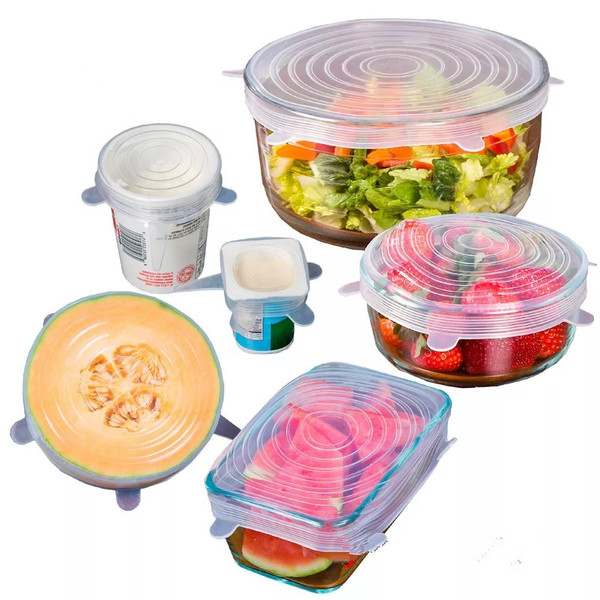 Clear Silicone Stretch Lids Pack of 6