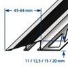 Aluminium Heavy Duty Ramp Transition Profile For Tile & Floor -2.5m